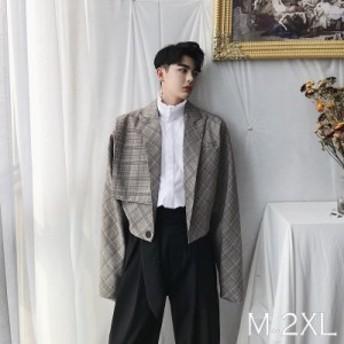 テーラード ショートジャケット オーバーチェック メンズ メンズファッション 韓流 韓国ファッション ストリート系 カジュアル 春