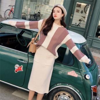 秋と冬♪新品入荷 2点セット/高品質/厚手ニットセット 安心の高レビュー 気質 新品 セーター セット ファッション 怠惰な風 手触り良い ニット セット 体型カバーに効く