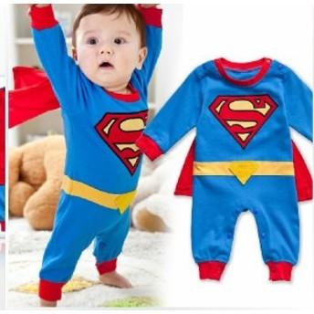 スーパーマン ヒーロー コスチューム ベビーコスプレ ロンパース カバーオール 70cm 80cm 90cm 95cm