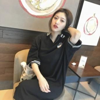 ワンピース 膝丈 ロングワンピース 大きいサイズ ポロシャツ レディース シャツ スポーティ 体型カバー 韓国 原宿系 ファッション 春新作