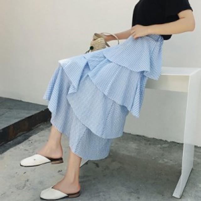 ギンガムチェック スカート ティアード レディース フリル フェミニン 体型カバー かわいい プチプラ 夏 スカート 夏新作 夏服