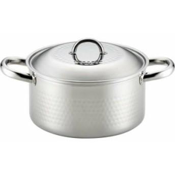 ヨシカワ ステンレス槌目鍋 両手20cm SJ2359 両手鍋 なべ つちめ鍋 オールステンレス IH対応 キッ