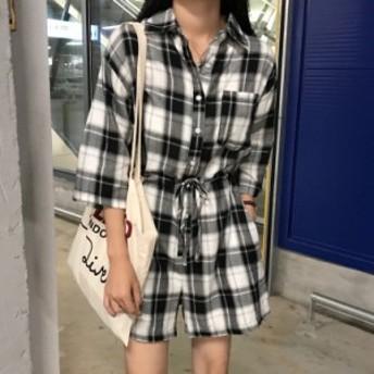 オールインワン サロペット ネルシャツ レディース 大きいサイズ チェック柄 カジュアル ミニ丈 体型カバー 春新作 春服