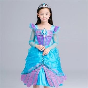 子供 ディズニープリンセス キッズ アリエル ワンピース なりきりワンピース プリンセスドレス 子どもドレス プリンセス キッズドレス