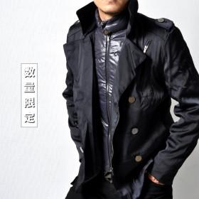トレンチコート - RAiseNsE 中綿 ショートトレンチコート インナー脱着式 メンズ アウター フェイクレイヤード 防風 防寒[2色]#T948