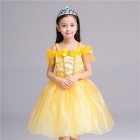 ディズニープリンセス 子供用ドレス キッ ベル ワンピース なりきりワンピース プリンセスドレス 子どもドレス プリンセス