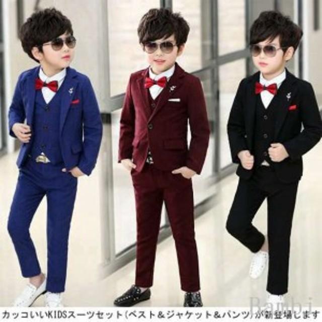 c80a2f7fa1f21 3点セット☆ベスト+ジャケット+パンツ 卒業スーツ 入学式 子供服 ...