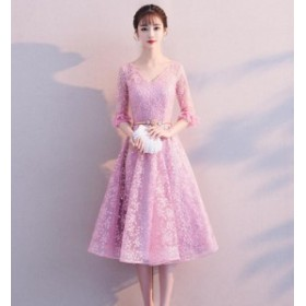 3色 パーティードレス  膝丈 Aラインドレス フォマールドレス 披露宴 お呼ばれ ブライズメイドドレス 卒業式 花嫁 着痩せ