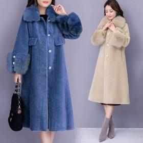 7色展開!高級品質 shorn sheepskin/カシミヤ コート ロッグ丈コート アウター ファー付きコート