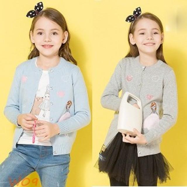 3ab5a5bbb247e 韓国子供服 ニット カーディガン キッズ ニットトップス 冷房対策 子ども服 長袖 女の子 ガールズ カーディガン