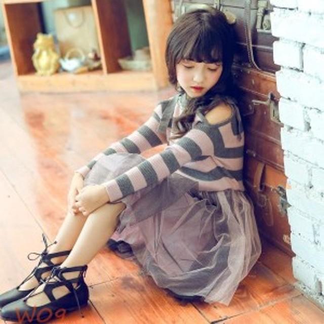 b69191a420cb5 子供服 女の子 ワンピースドレス チュールワンピース 韓国子供服 通園 長袖 dress ニットワンピース ハイ