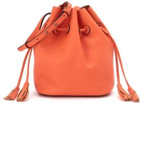 L LEATHER タッセルモチーフ巾着バッグ ショルダーバッグ,オレンジ