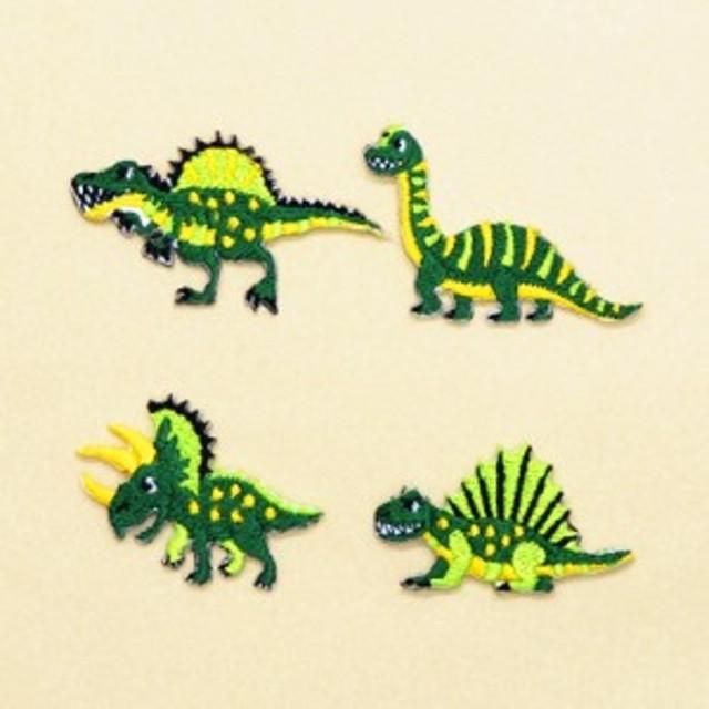 アイロン刺繍ワッペン 中生代の人気恐竜セット(4個セット) N6640900