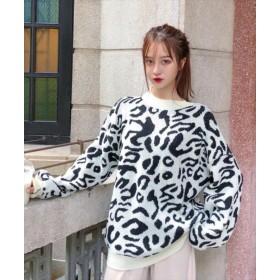 ニット・セーター - Rutta レオパードニットセーター 韓国ファッション トレーナー オーバーサイズ 長袖 ドルマン