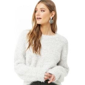 ニット・セーター - FOREVER 21 【WOMEN】 【ファジーポップコーンセーター】 ニット セーター 長袖 ゆったり/オーバーサイズ 白 ホワイト S M L