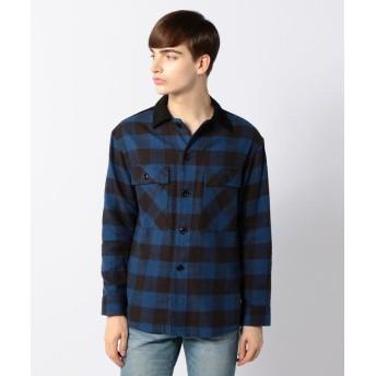 トゥモローランド スラブコットン×コーデュロイ ワークシャツ メンズ 68ブルー系 S 【TOMORROWLAND】