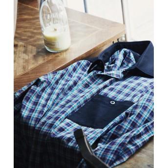 トゥモローランド コットンブロード×ウールフランネル レギュラーカラーシャツ メンズ 57グリーン系 M 【TOMORROWLAND】