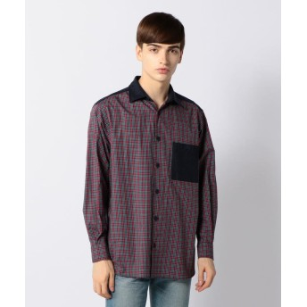 トゥモローランド コットンブロード×ウールフランネル レギュラーカラーシャツ メンズ 33レッド系 S 【TOMORROWLAND】