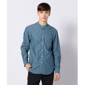 トゥモローランド コットンダンガリー バンドカラーシャツ メンズ 63ライトブルー XS 【TOMORROWLAND】