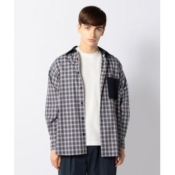 トゥモローランド コットンブロード×ウールフランネル レギュラーカラーシャツ メンズ 47ブラウン系 XS 【TOMORROWLAND】