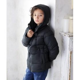 グラソス スタンドフード中綿ダウンジャケット レディース ブラック 140cm 【GLAZOS】