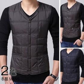 メンズファッション 男性 トップス 冬 ダウンベスト 袖なし 薄手 防寒 コートの下に 無地 大きいサイズ 便利なポケット付き ノーカラー ボタン
