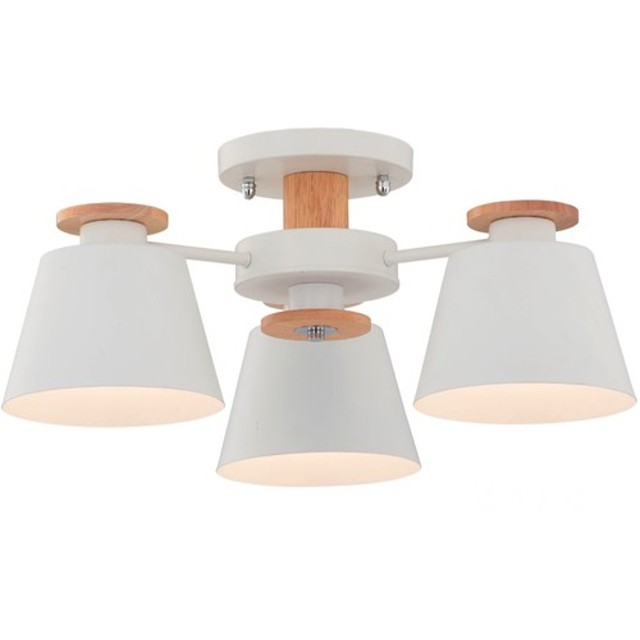 白い投影ランプシェード木製3灯天井灯