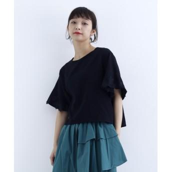 メルロー 袖刺繍コットンブラウス レディース ブラック FREE 【merlot】