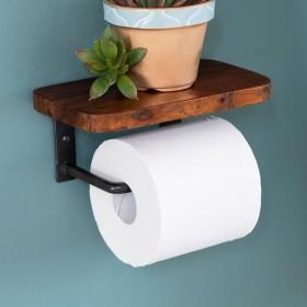 トイレットペーパーホルダー 天板付き 棚付き アイアンハンガー トイレ小物 おしゃれ ペーパーホルダー 天然木 木製