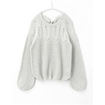 ニット・セーター - HAPPY急便 by VERITA. JP 女性を魅力的に見せる、大人可愛いニット。後リボン ニット/ニット ライトニット バックリボン トップス レディース 透かし編み 綿混長袖 セーター