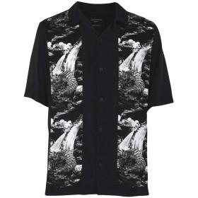 《期間限定セール開催中!》ALLSAINTS メンズ シャツ ブラック M レーヨン 100% BOZEMAN SS SHIRT