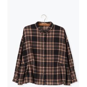 【6,000円(税込)以上のお買物で全国送料無料。】チェック脇ギャザーシャツ