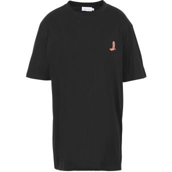 《期間限定セール開催中!》CALVIN KLEIN レディース T シャツ ブラック XS コットン 100% BOOT PATCH RELAXED T