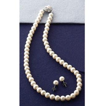 ルーシールーシー パールネックレス&ピアスセット ホワイト 9908W ファッションアクセサリー