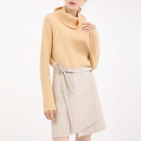 【再販】上質なカシミヤ100% 大きい衿のセーター (全2色)18k006
