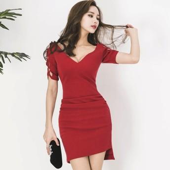 結婚式 ドレス ワンピース パーティー お呼ばれ 二次会 大人の赤ワンピース 韓国 オルチャン 韓国ファッション