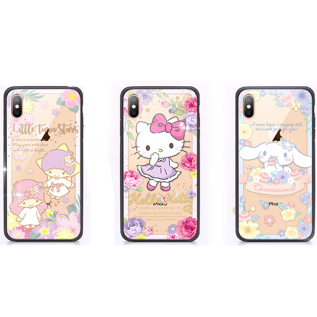 GARMMA Hello Kitty IPhone XR 6.1 Xs Max 6.5 X/XS 5.8 四角防撞玻璃殼 花草系列