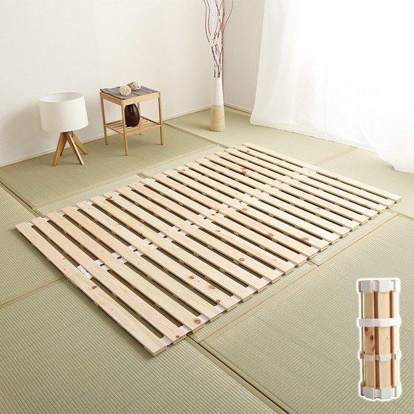 収納付き 手動ギア式 スチールパイプ (フレームのみ) 3段リクライニング 〔寝室〕 【シングル ライトブラウン】 すのこベッド