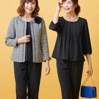 RyuRyu 【4点セット】入学式卒業式に!ママに嬉しい洗えるパンツスーツ ブラック 9AR レディース
