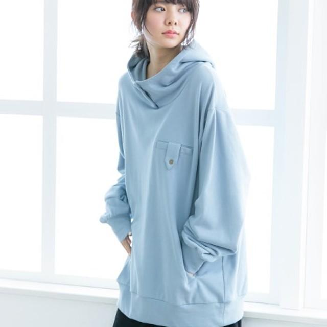【ゆったりワンサイズ】立ち衿デザインゆるっとロング丈プルオーバーパーカー (はおりもの)(レディース)