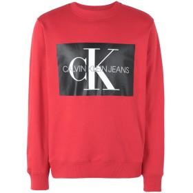 《期間限定 セール開催中》CALVIN KLEIN JEANS メンズ スウェットシャツ レッド L コットン 100% MONOGRAM BOX LOGO RE
