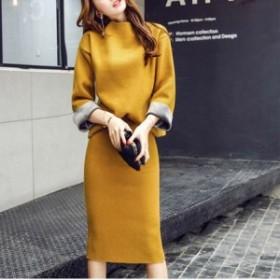 レディース ファッション 綺麗 膝丈 韓国 ファッション レディース ワンピース 秋