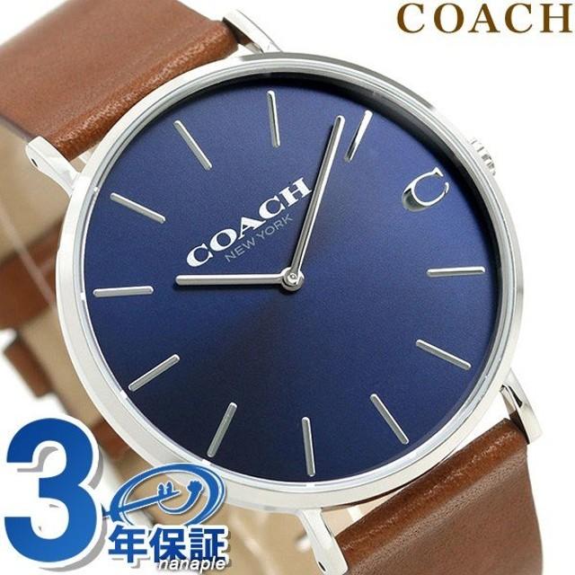 8b29bd69453171 コーチ COACH 時計 メンズ 41mm 革ベルト 14602151 チャールズ ダークブルー×ブラウン 腕時計