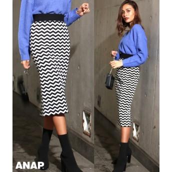 【セール開催中】ANAP(アナップ)ギザギザジャガードニットスカート