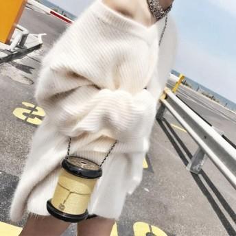 冬新作 Vネック モヘアニット セーター オーバーサイズ ゆるニット リブ ルーズ 長袖 レディース トップス フェミニン ゆるかわ C0032