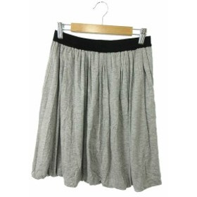 ドレステリア DRESSTERIOR スカート ギャザー ひざ丈 シルク混 グレー /TM28 レディース