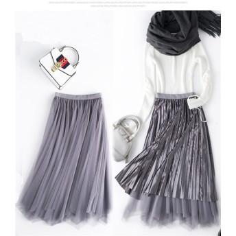 韓国 ファッション 流行アイテム カジュアル ベルベット ins イレギュラー スカート プリーツスカート