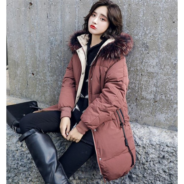 [55555SHOP] ファー付き中綿ダウンコート レディース 膝丈 フェイクファー フード付き 大きいサイズ ゆったり ボリューム 無地 カジュアル 冬 中綿コート ロング アウター ベンチコ