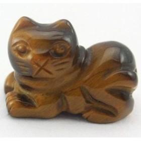 ミニ彫り物 伏せ豆猫 タイガーアイ 金運 天然石 パワーストーン プチギフト 転勤 退職 お礼 母の日 敬老の日 クリスマス ギフト