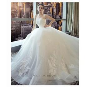 花柄 刺繍 ベアトップ Aライン ロング ドレス ウェディング 清楚 きれいめ 上品 ブライダル 結婚式 披露宴 大きいサイズ